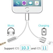 Lightning Jack to 3.5mm Headphone Audio +Charger Adapter for iPhone X/7//7P/8/8P/10 to 3.5mm Headphone .Aux Earphone Jack Adapter Connection Accessories Cable Converter.Support iOS10.3/11 or Later