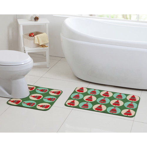 VCNY Home Multi-Color Christmas Holiday Tree 2-Piece Bath Rug Set
