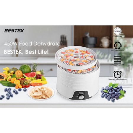 BESTEK Food Dehydrator Machine, Electric Fruit and Vegetable Dryer with Adjustable Temperature Control Includes 5 Stackable Trays