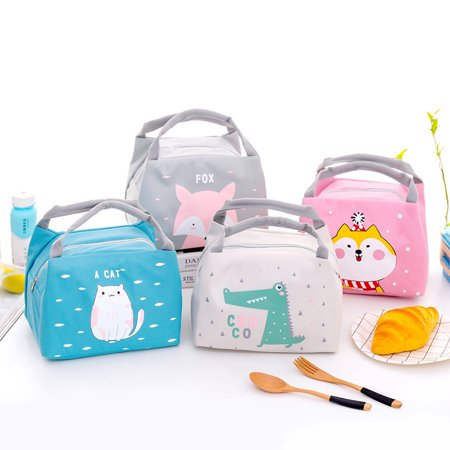 Crocodile Creek Lunch Box - Cute Cartoon Printing Waterproof Insulation Oxford Lunch Bag with Handle for Outsoor Student