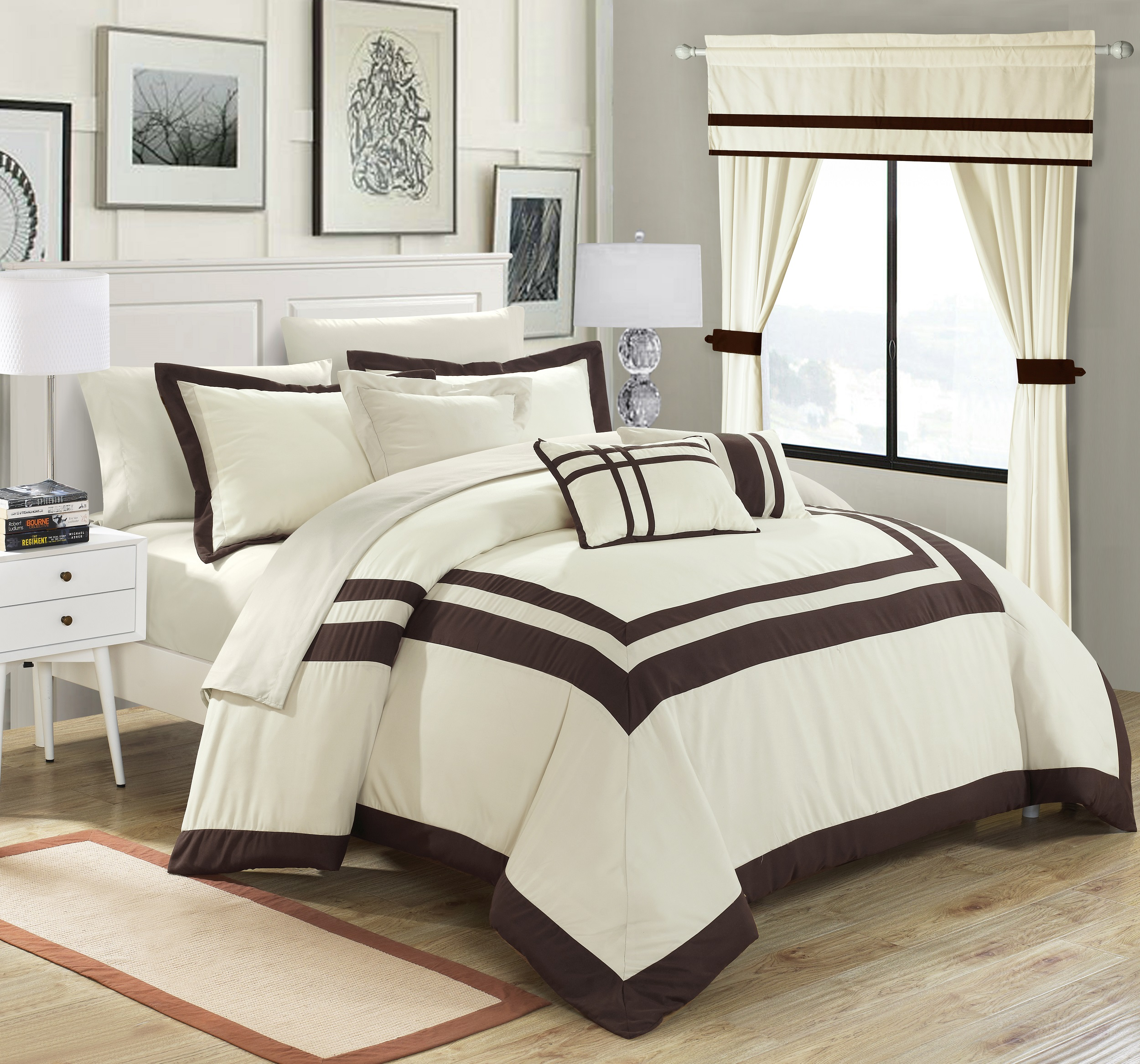 Chic Home 20-Piece Christofle-Pieced Color Blocked Complete Master Bedroom Ensemble Includes Comforter Set, sheet set and window treatments. King, Beige
