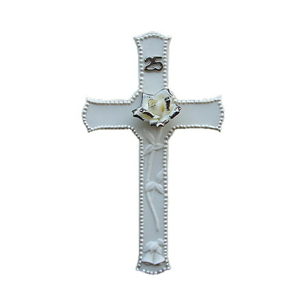 25th Silver Wedding Anniversary Porcelain Religious Wall Cross 8