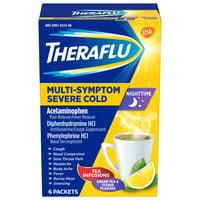 Theraflu Nighttime Multi-Symptom Severe Cold Hot Liquid Powder Green Tea and Citrus Flavors 6 Count Box