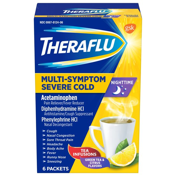 Theraflu Nighttime MultiSymptom Severe Cold with Green Tea & Citrus Hot Liquid Powder for Cough & Cold Relief, 6 count