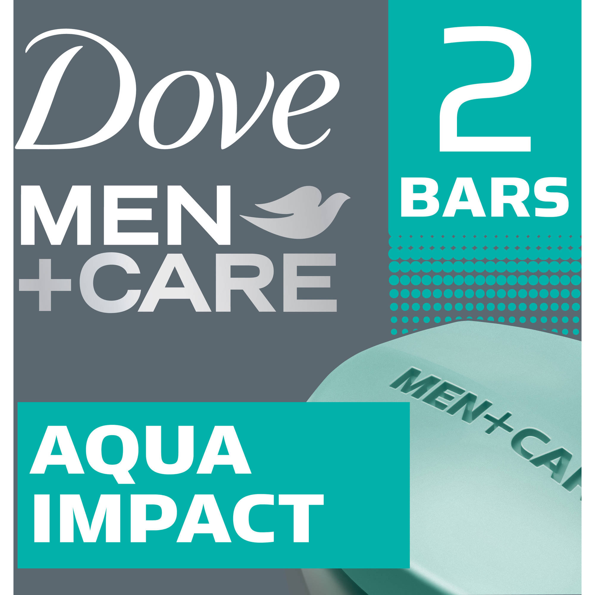 Dove Men + Care Body & Face Bar, Aqua Impact, 4 oz bars, 2 ea