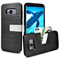 Samsung Galaxy S8 Hybrid Metallic Brushed Protective Kickstand With Card Slot Case Cover