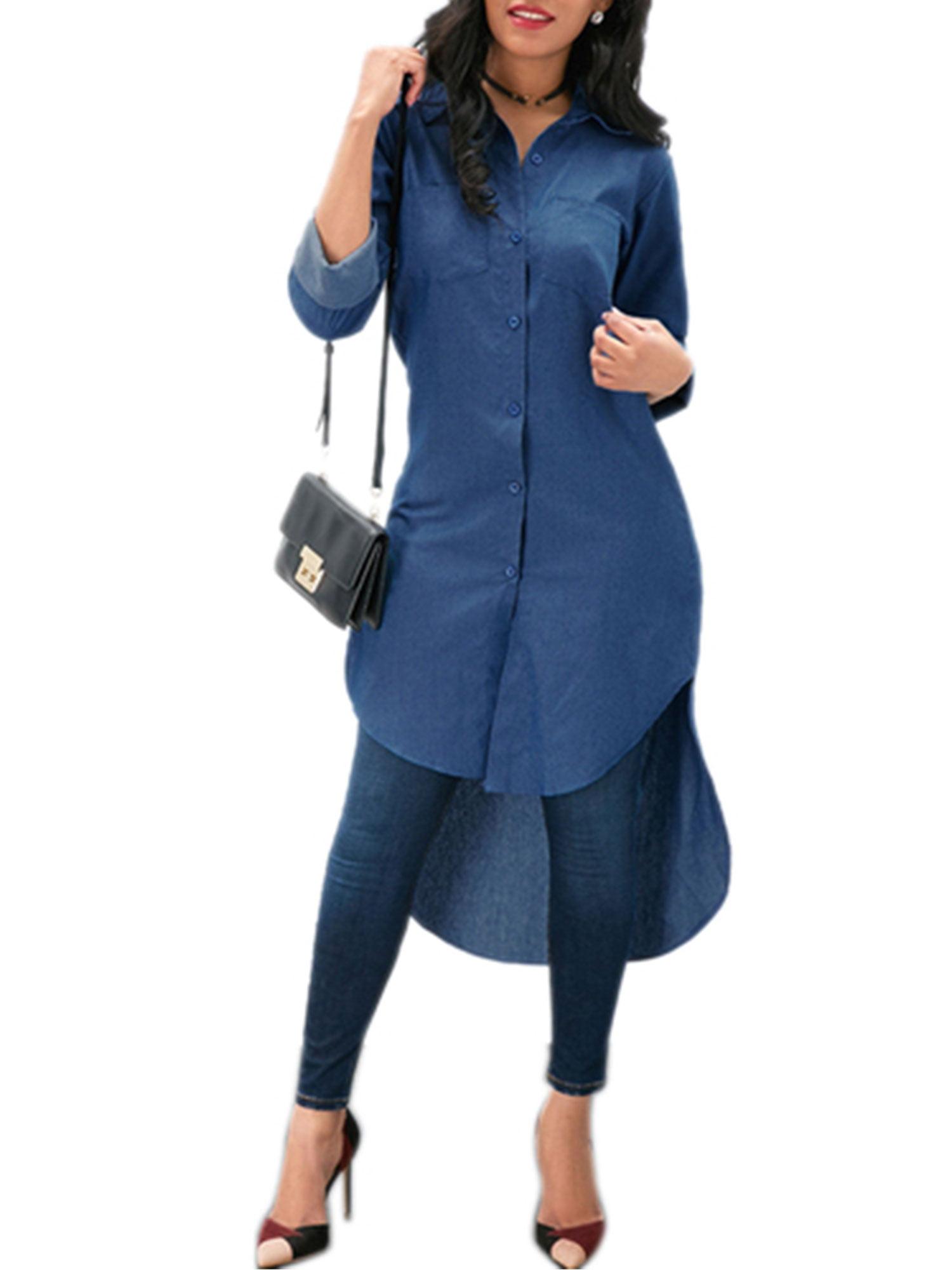 cfc427ba7d9 Sexy Dance - Denim Shirt Women Blue Jeans T-Shirt Long Sleeve Casual Loose  Tunic Dress Ladies Autumn Button Lapel V Neck High Low Top - Walmart.com