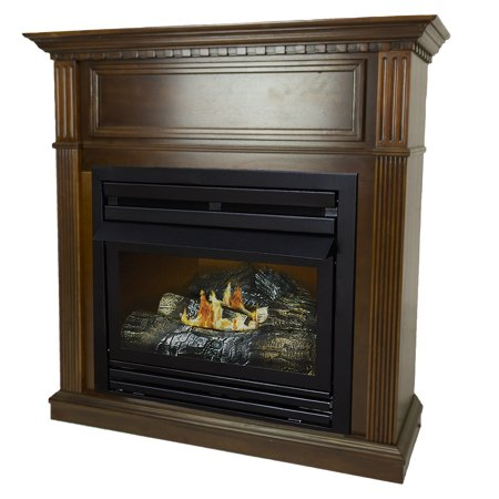 Vent Free Gas Fireplace - Pleasant Hearth 42 in. Natural Gas Intermediate Cherry Vent Free Fireplace System 27,500 BTU