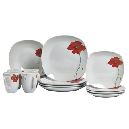 Tabletops Gallery Poppy Square 16 Piece Dinnerware Set, Floral Pattern
