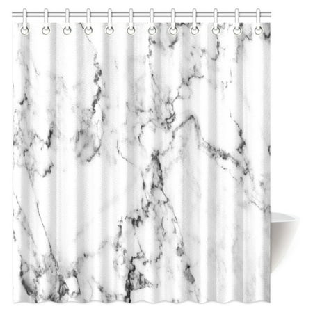 MYPOP White Marble Shower Curtain, Natural Stone Pattern with Hazy Effects Granite Ceramic Rock Formation Print Decor Fabric Bathroom Shower Curtain with Hooks, 66 X 72 (Ceramic Shower Accessories)