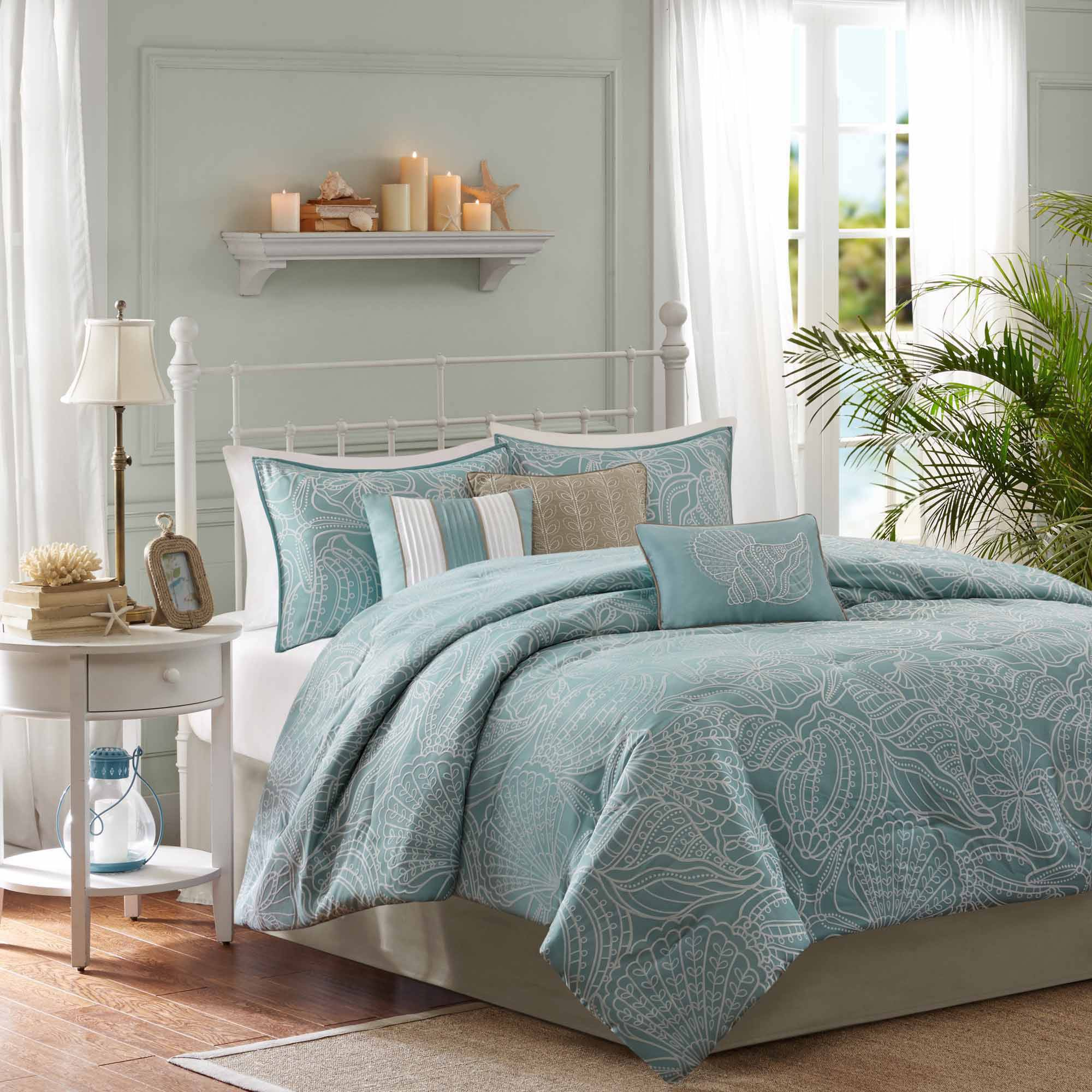comforter blue product free bbda ink overstock ivy bath mini bedding today set shipping sateen cotton plaid grey and gray printed sterling