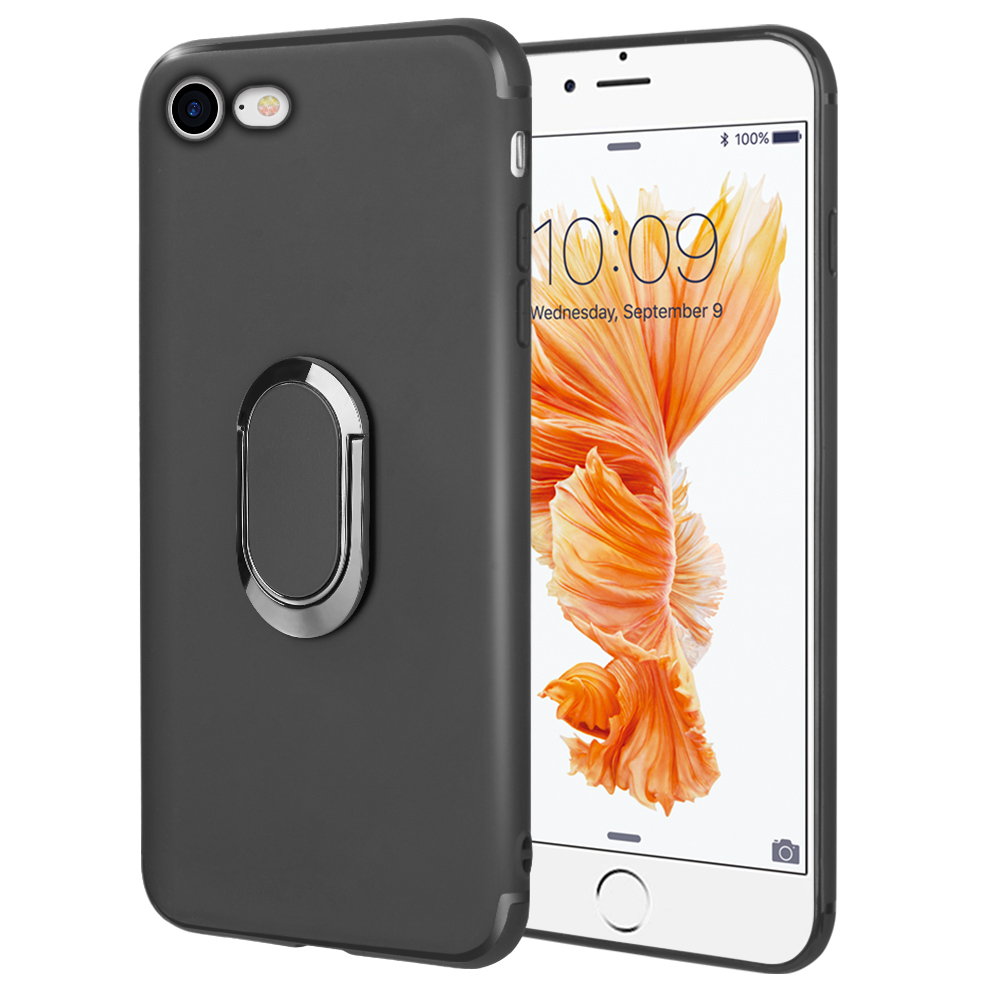 iPhone Case for iPhone 8/7 The Surplus Soft Tpu Case With Rotatable Magnet Ring Stand - Black