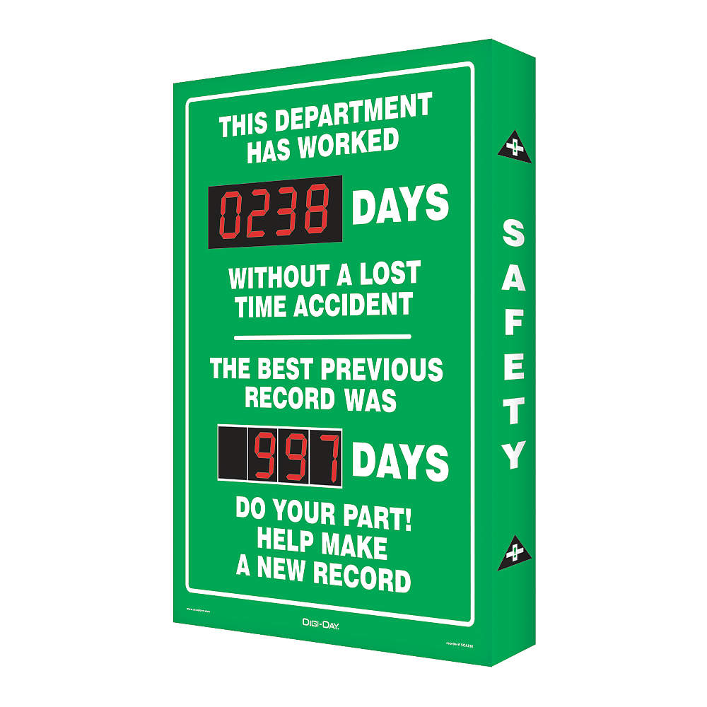 Accuform SIGNS Safety Record Signs, 29 x 20In, AL, ENG SC...