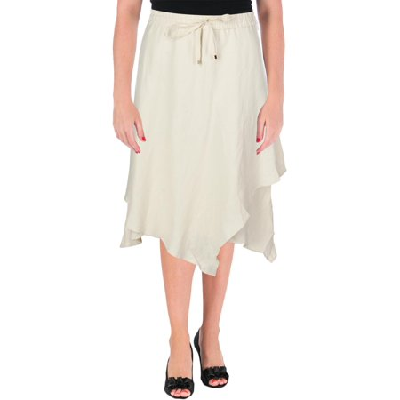 Lauren Ralph Lauren Womens Oquendo Linen Blend Layered Tiered Skirt