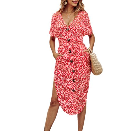 Long Sleeved Smock Dress - Womens V-Neck Mini Dress Short Sleeve Single-Breasted Button Causal Spotted Dress Summer Holiday Ladies Long Smock Sun Dress