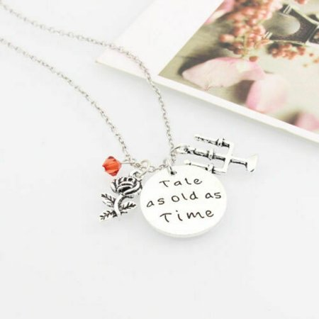 KABOER Tale As Old As Time Beauty and the Beast Necklace Rose Women Kid Gift Item