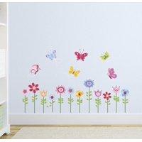 Bright Butterfly Garden Wall Decal Sticker - 10x18