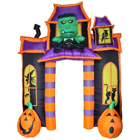Comin DJ-WS-67021 10 ft. Frankenstein Jack O Lantern Haunted House with Light Up Halloween Inflatable