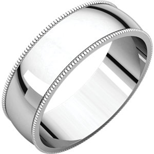 10K White 6mm Light Milgrain Band