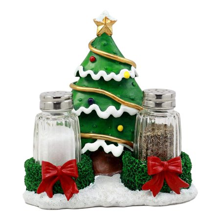Ebros Jolly Seasons Christmas Tree Glass Salt & Pepper Shakers Holder Figurine 6.25'H Decorative Holiday Hosting