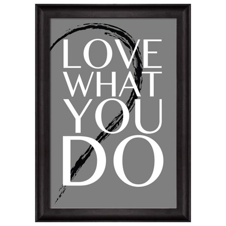 wall26 - Black and White Half Heart with a Quote - Love What You Do - Framed Art Prints, Home Decor - 16x24 - Heart Framed Print