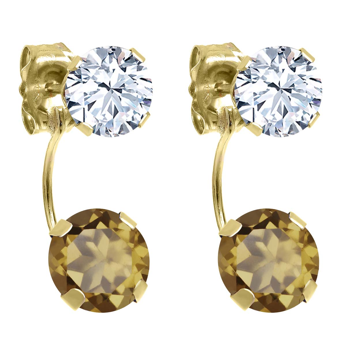 3.10 Ct Round Whiskey Quartz 14K Yellow Gold Earrings