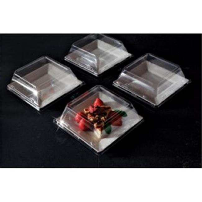 EMI Yoshi EMI-SP6LP 6. 5 inch Squares Clear Dessert Plate Pet Lid - Pack of 120