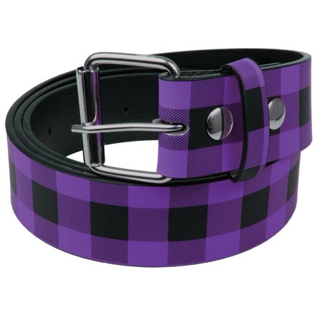 Purple Plaid Leather Belt