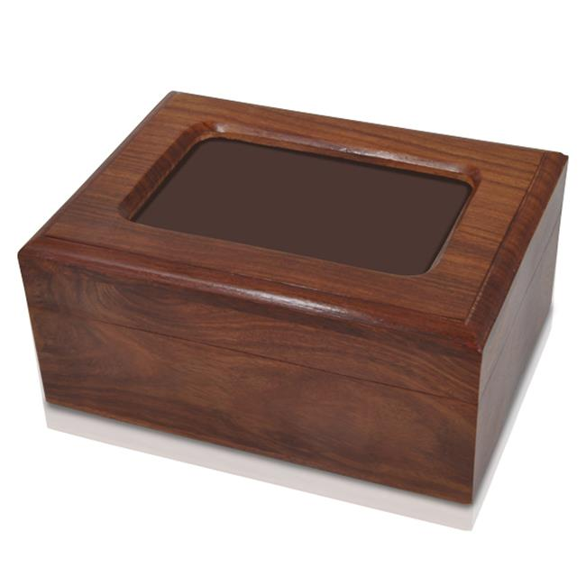 Memorial Gallery SWH-001 Memory Chest Wooden Box Urn with Photo Window