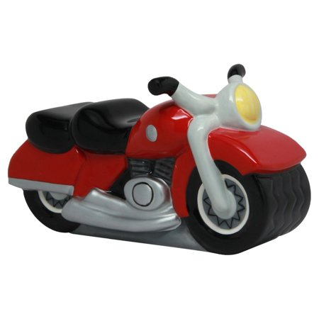 Ceramic Motorcycle Savings Piggy Coin Money Bank  7  L  Red  Perfect Gift For Those That Love Money Bank By Ptc