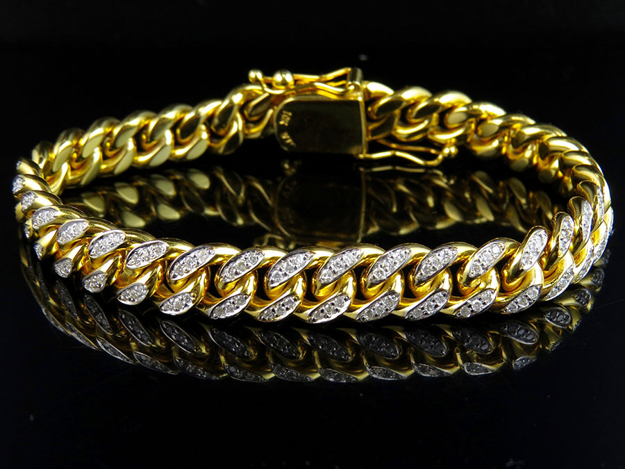 Solid 10K Yellow Gold Miami Cuban Link Diamond 8.5 inch 9.5MM Bracelet (3.0 Ct) by Jewelry Unlimited