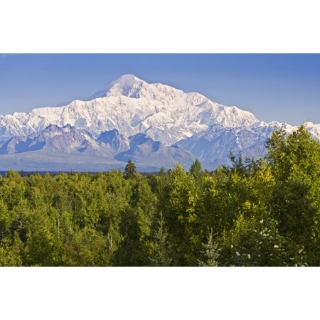 Southside View Of Mt Mckinley Summer Southcentral Alaska Canvas Art   Jeff Schultz  Design Pics  17 X 11