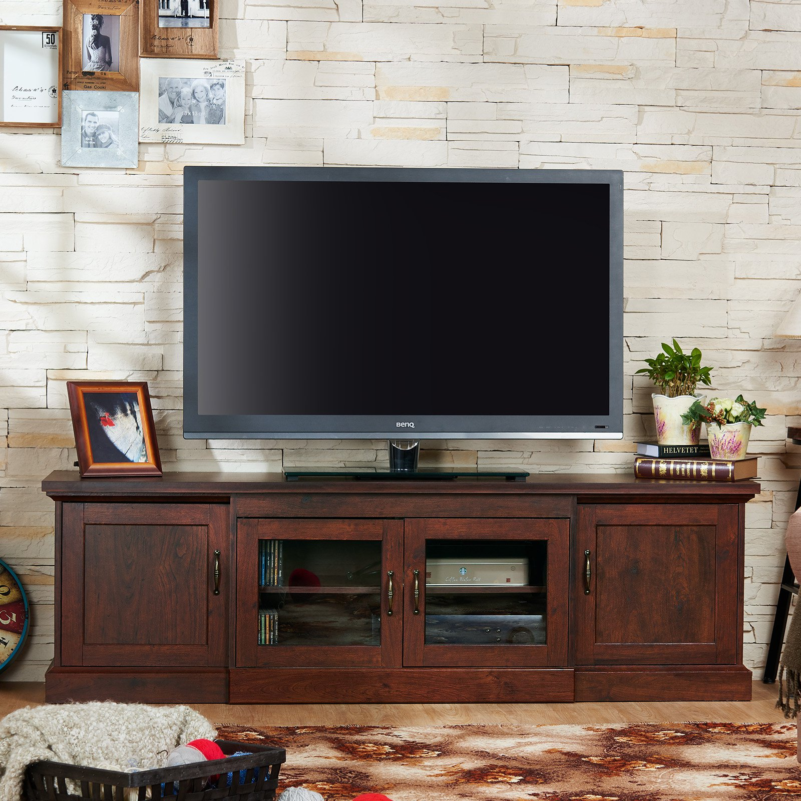 Furniture of America Hanson Multi Storage Entertainment Cabinet - Walnut