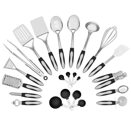 Serving Utensil Wrap - Best Choice Products Set of 23 Stainless Steel Kitchen Cookware Utensils Set w/ Spatulas, Measuring Cups/Spoons, Serving Spoons, Ladle, Whisk, Bottle/Can Openers, Grater, Peeler, Masher - Silver