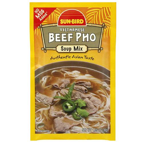 Sun-Bird Vietnamese Beef Pho Soup Mix, 1.05 oz, (Pack of 24)