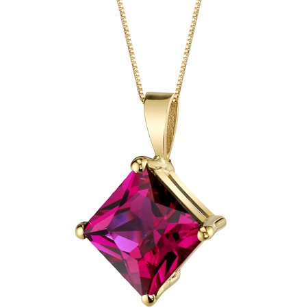 14kt Gold Ruby Cross Pendant - 14 Karat Yellow Gold Princess Cut 3.00 Carats Created Ruby Pendant