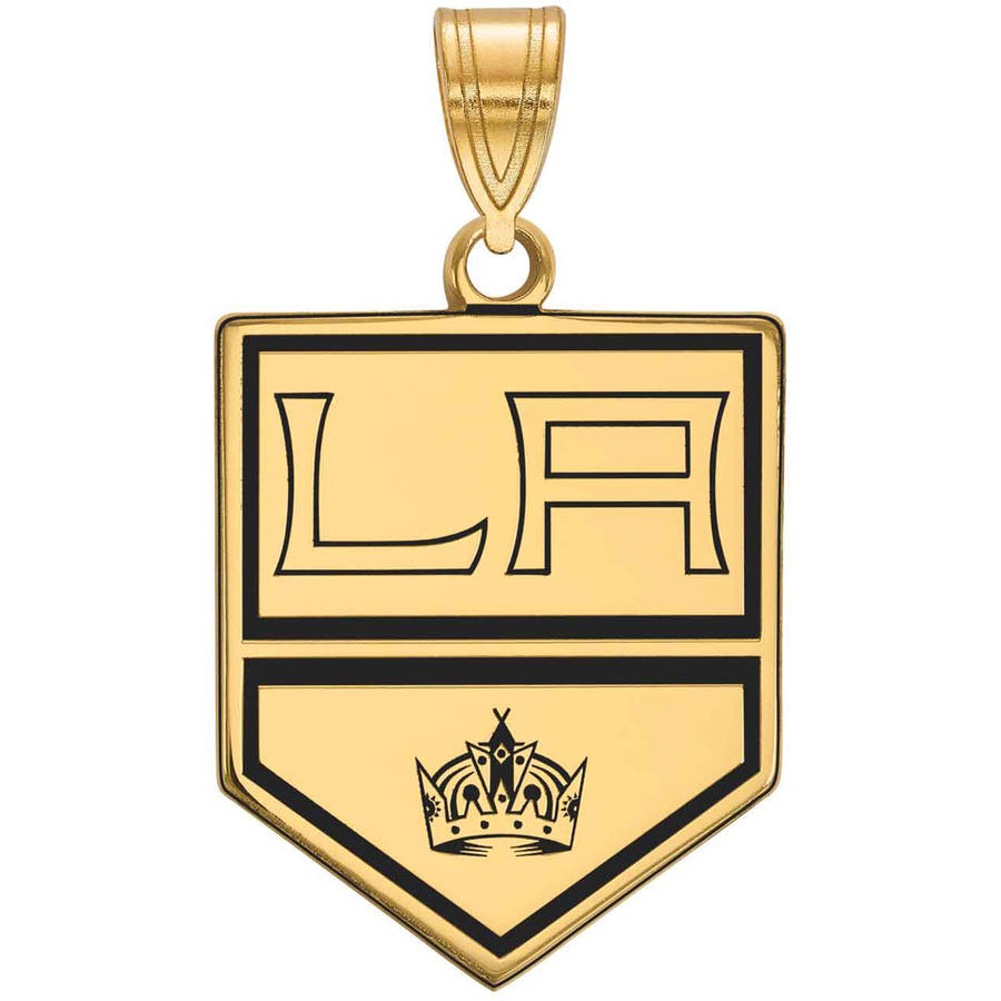 LogoArt NHL Los Angeles Kings 14kt Gold-Plated Sterling Silver Large Enamel Pendant