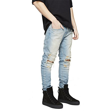 7abf3206 Hemiks - Hemiks Men's Zipper Biker Jeans Ripped Distressed Slit Denim Slim  Stretch Jeans - Walmart.com