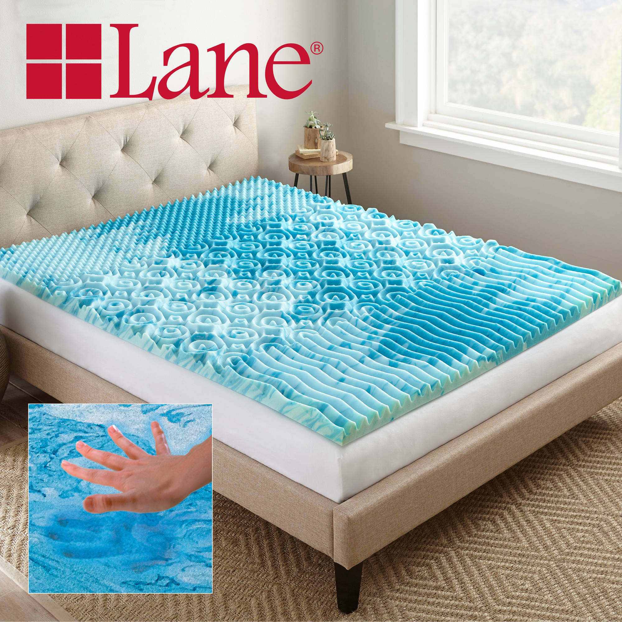 "Lane 2"" Cooling GelLux Memory Foam Gel Mattress Topper Multiple"