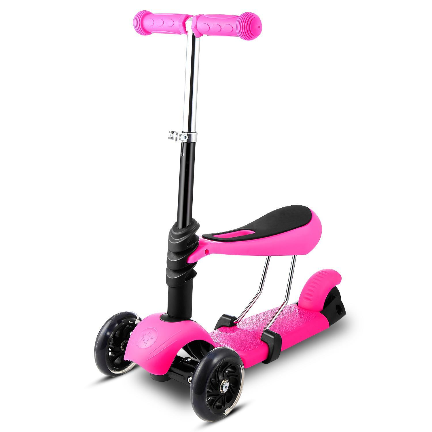 3-in-1 Kids 3-Wheel Mini Kick Scooter with Adjustable Handle T-Bar and Seat, LED Flashing... by