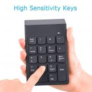 Black Keypad - Jeobest Wireless Numeric Keypad - Wireless 2.4G USB Number Keypad, 18 Keys Wireless USB Numeric Keypad, Mini USB Receive Black