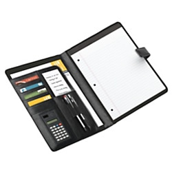 "Office Depot Brand® Padfolio With Magnetic Closure And Calculator, 11 1/10""H x 10 1/2""W x 1 3/10""D, Black"