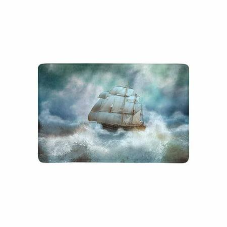 MKHERT Cool Sailing Pirate Ship in Thunderstorm Doormat Rug Home Decor Floor Mat Bath Mat 23.6x15.7 inch