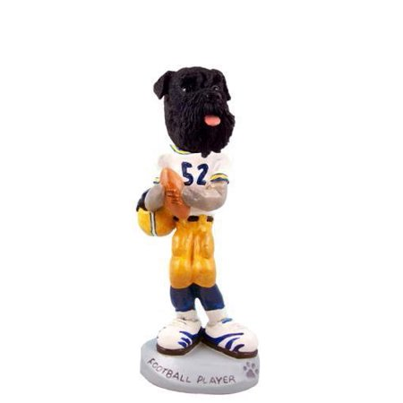 Schnauzer Black w/Uncropped Ears Football Player Doogie Collectable Figurine