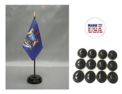 "Michigan State Flag 4/""x6/"" Desk Set Table Stick Black Base"