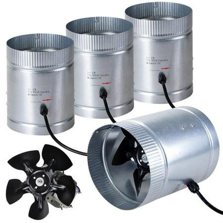 "GHP 4-Pack 250CFM Galvanized Steel Aluminum Fan Blade 42W 30°C 6"" Vent Mini Blowers"