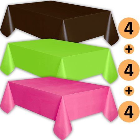 12 Plastic Tablecloths - Brown, Lime Green, Hot Pink - Premium Thickness Disposable Table Cover, 108 x 54 Inch, 4 Each Color - Hot Pink Plastic Tablecloth