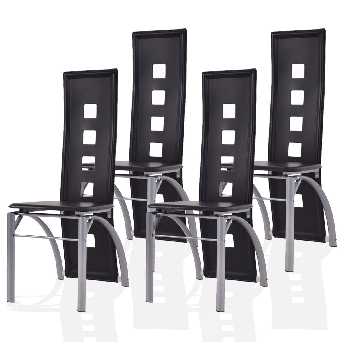 Costway Set of 4 Dining Chairs PU Leather Steel Frame High Back Home Furniture Black by Costway