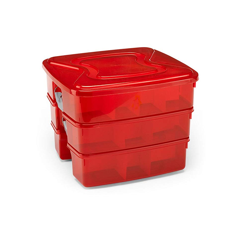 Home Products International 3-In-1 Holiday Storage Tote - 40 Ornament Capacity