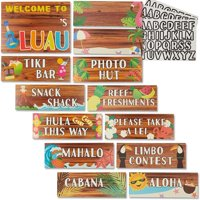 """13-Piece Hawaiian Luau Party Tiki Bar Welcome Signs with 3 Set of Alphabet Stickers for Kids Birthday Decorations, Photo Props, 11"""" x 8.6"""""""